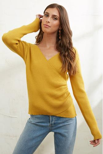 Ribbed Surplice Pullover YELLOW