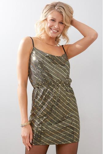 Cowl Shine Mini Dress GOLD