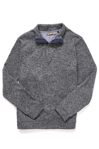 Marled Sweater Fleece 1/4 Zip Pullover GREY