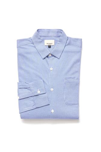 Clark Pinstripe Knit Button Down Shirt BLUE