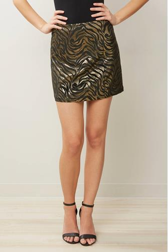 Zebra Metallic Mini Skirt BLACK-MULTI--