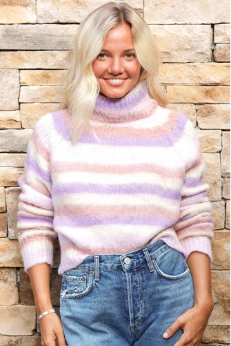 Striped Fuzzy Turtleneck PURPLE-MULTI--