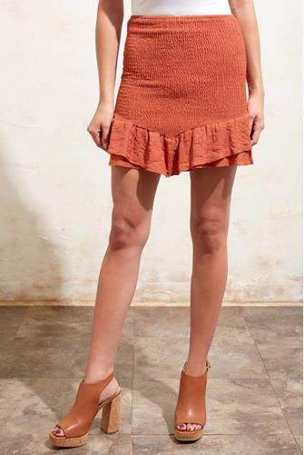 Rust Ruched Mini Skirt RUST