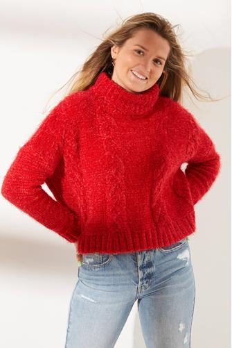 Jack by BB Dakota Eyelash Kisses Cable Knit Sweater RED