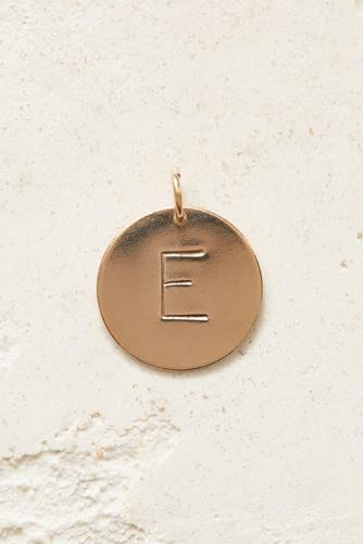 E Initial Disc Necklace Charm GOLD