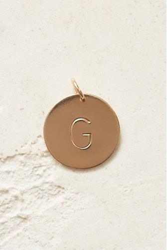 G Initial Disc Necklace Charm GOLD