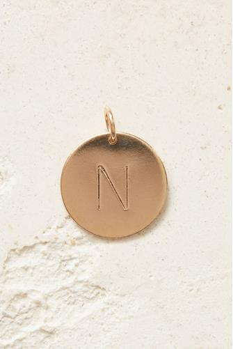 N Initial Disc Necklace Charm GOLD