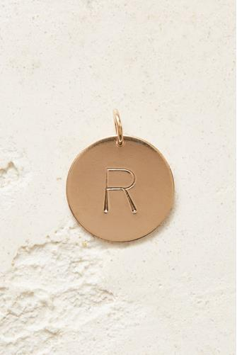 R Initial Disc Necklace Charm GOLD