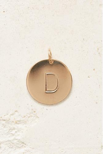 D Initial Disc Necklace Charm GOLD