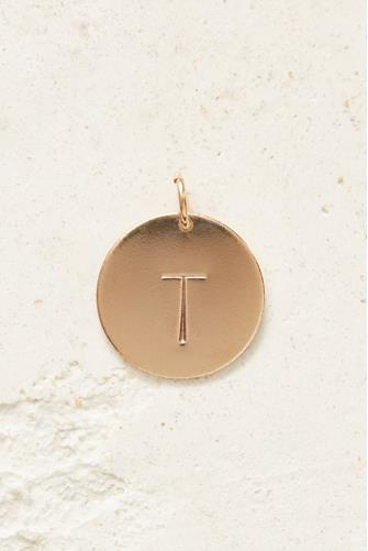 T Initial Disc Necklace Charm GOLD