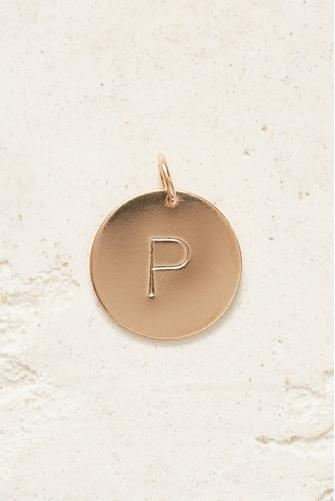 P Initial Disc Necklace Charm GOLD