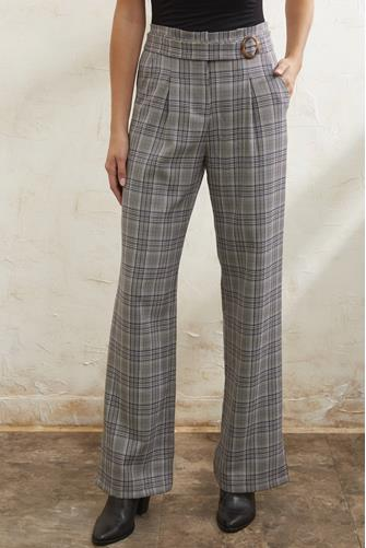 Josie Plaid Hi Rise Wide Leg Pant GREY-MULTI--
