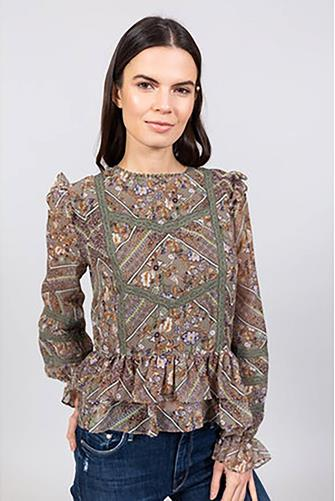 Lace Inset Floral Blouse GREEN MULTI -
