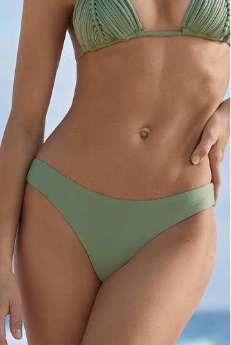 Sage Basic Ruched Hipster Bikini Bottom GREEN