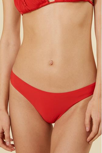 Red Basic Ruched Bikini Bottom RED