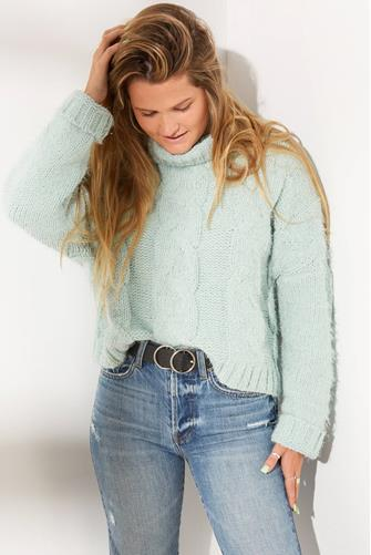 Adyson Parker Cable Knit Eyelash Turtleneck MINT-GREEN