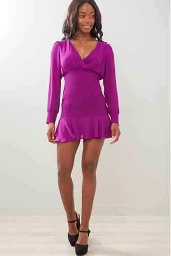 Smocked Surplice Mini Dress VIOLET