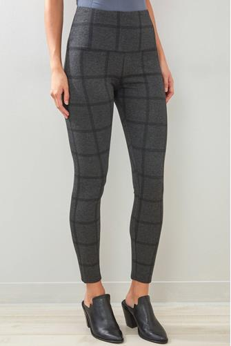 Charcoal Windowpane Plaid Leggings CHARCOAL