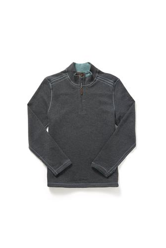 Quarter Zip Reversible Rib Pullover CHARCOAL