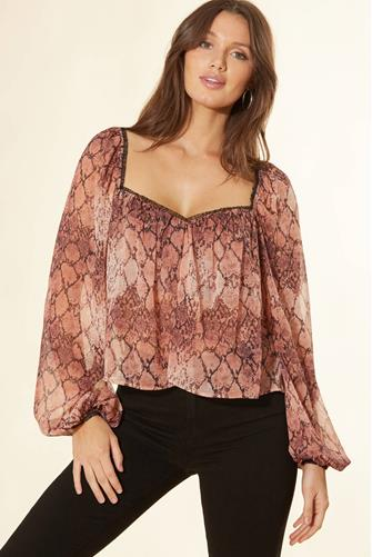 Snake Print Ruffle Trim Blouse BROWN MULTI -