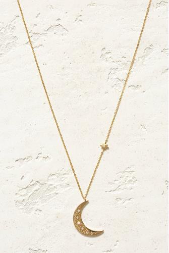 ANA MOON AND STAR CHARM NECK GOLD