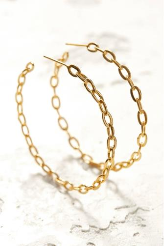 ALICIA LARGE CHAIN LINK HOOP GOLD