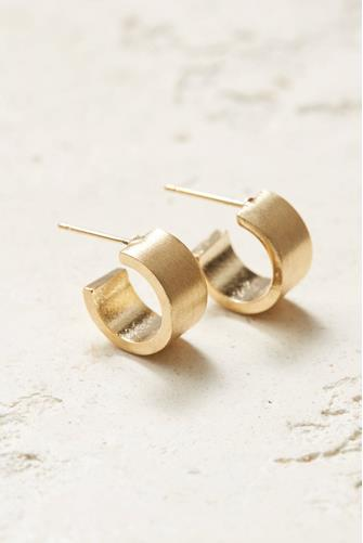 Mini Brushed Gold Huggie Earrings GOLD