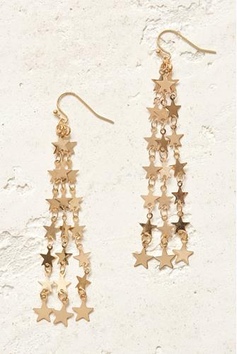 Linear Star Strand Drop Earrings GOLD