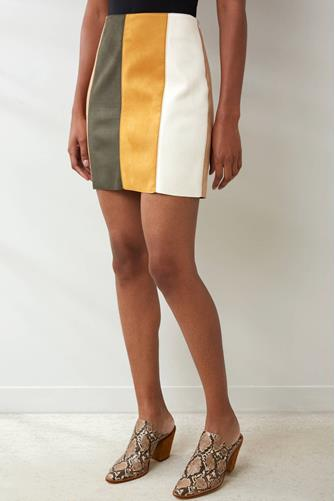 Tan Multicolored Mini Skirt MULTI