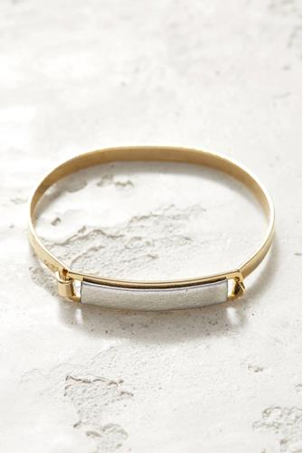 Silver Leather ID Bracelet SILVER
