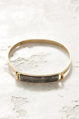 Distressed Gold Leather ID Bracelet BLACK-MULTI--