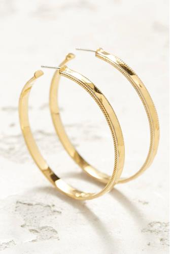 Large Gold Hammered Hoop Earrings GOLD