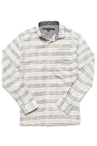Impatient Wolves Sea Striped Lightweight Button Down Shirt GREY