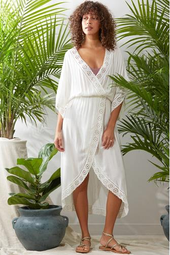 Embroidered Midi Cover Up IVORY