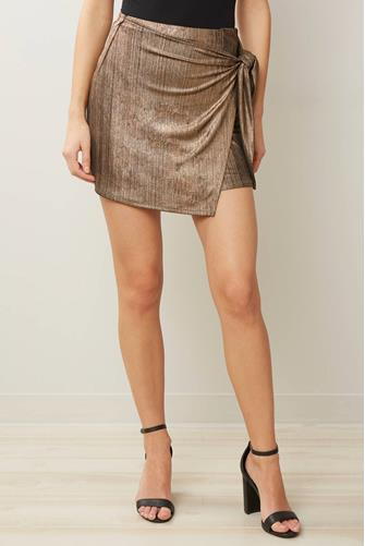 Knit Metallic Wrap Skirt GOLD