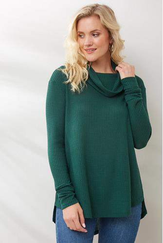 THERMAL COWL NECK PULLOVER GREEN