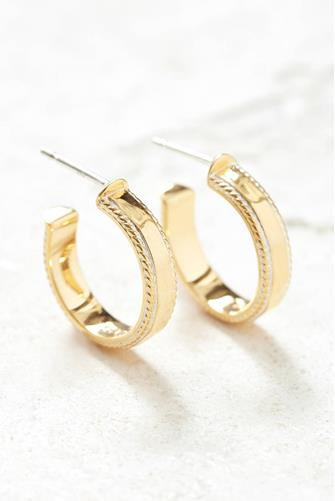 Gold Small Hammered Hoop Earrings GOLD