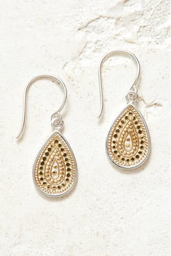 Gold Medium Dotted Teardrop Earrings GOLD