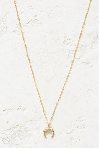 Gold Round Tusk Necklace GOLD