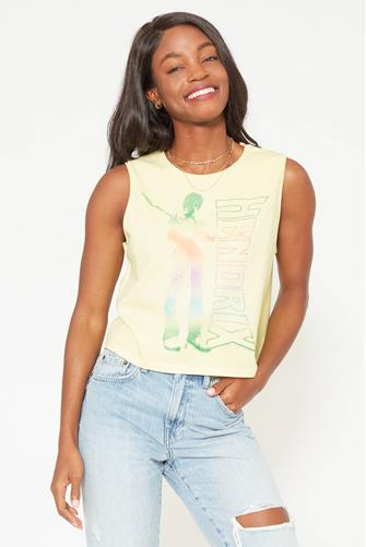 Jimi Hendrix Gradient Muscle Tee YELLOW