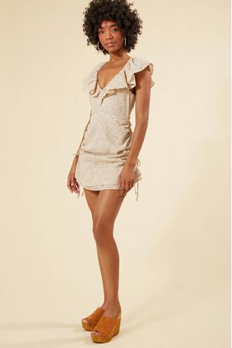 Halsey Ruched Mini Dress BROWN-MULTI--