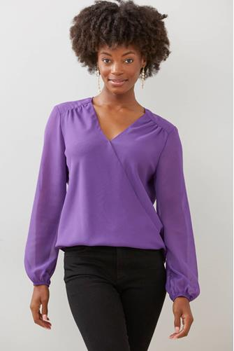 Sheer Sleeve Surplice Blouse PURPLE