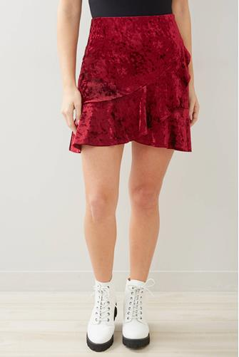 Crushed Velvet Ruffle Mini Skirt RED