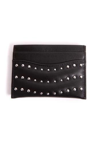CARD CASE WITH SILVER STUDS BLACK