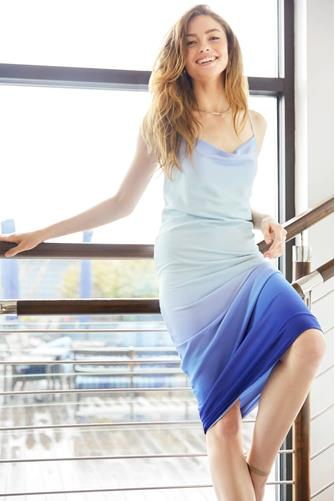 Ombre Rhea Slip Dress BLUE