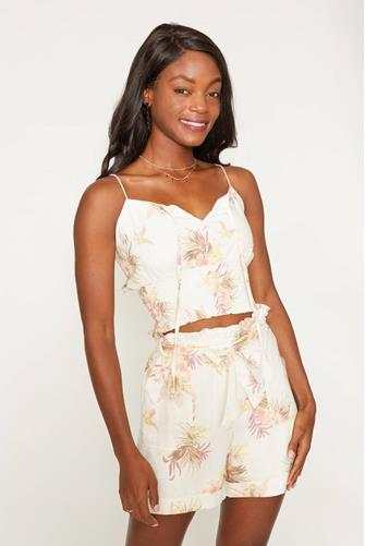 Tropic Dreaming Floral Crop Top WHITE-MULTI--