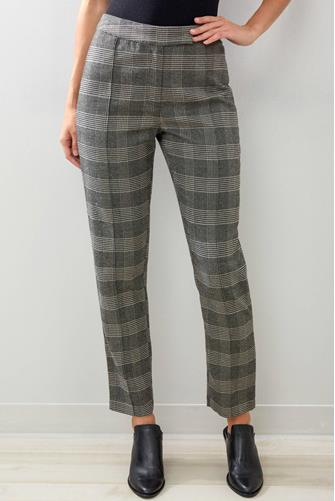 Plaid Skinny Trouser Pant BLACK MULTI -