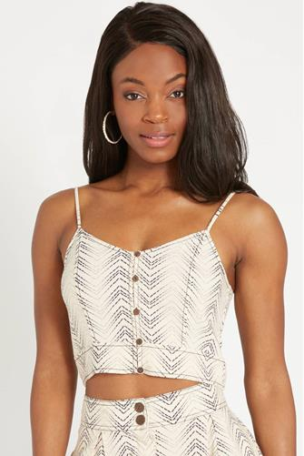 Printed Button Down Cami With IVORY