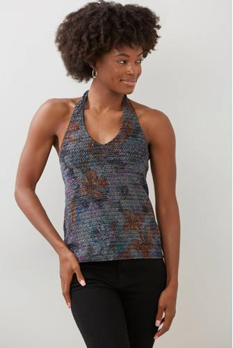 Rainbow Sparkle Halter Top BLACK-MULTI--