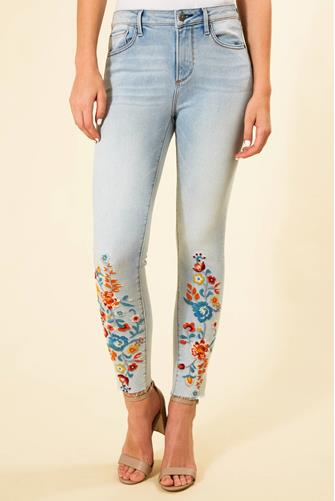 Jackie Hi Rise Embroidered Skinny Jean LIGHT DENIM -